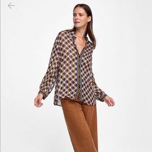 Zara metallic stripe blouse